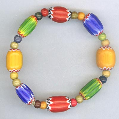 Multi color wook bead strtch bracelet