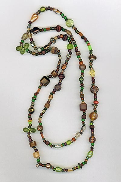 super long multi brown green necklace