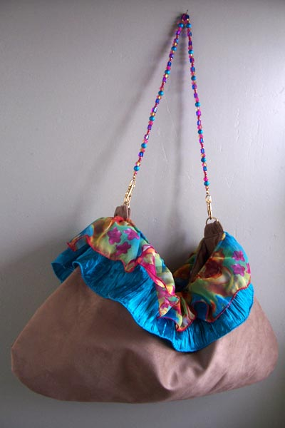 Ruffle Slouch Suede Aqua Pink Beaded Handle Purse