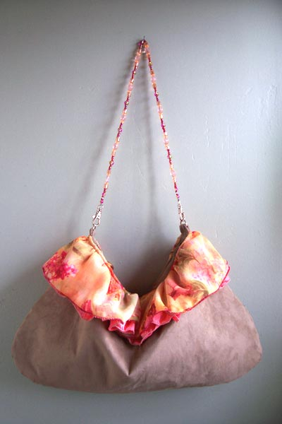 Peachy Pink Beaded handle Suede purse