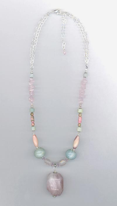 rose quartz gemstone mix 2 necklace