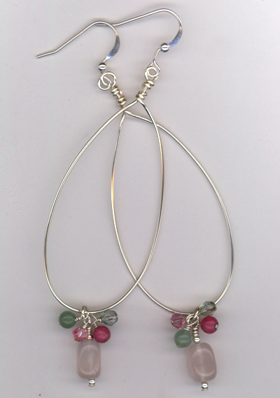 Silver Hoop Pastel Earrings