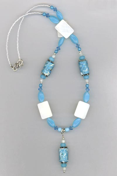 MOP Blue white necklace