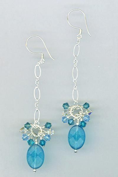 aqua jade crystal chain earrings