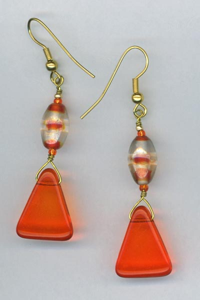 Orangel Candy corn gold earrings