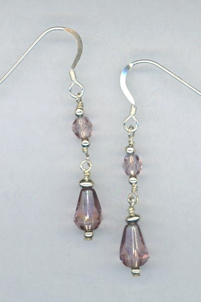 Light Amethyst crystal dangle earring