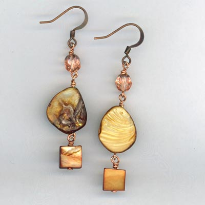 Copper Pearl crystal Earrings