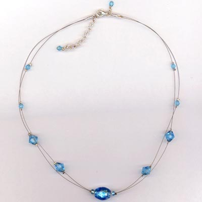 aquamairen crystal lamwork floating necklace