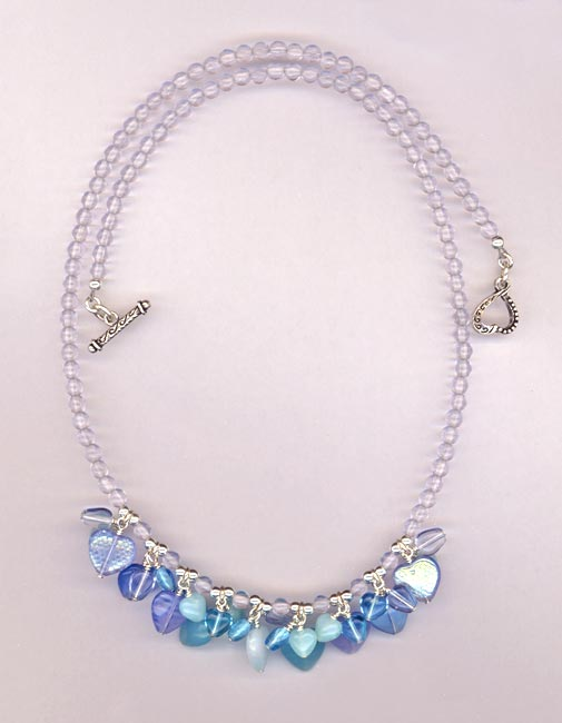 blue heart charm lavender necklace
