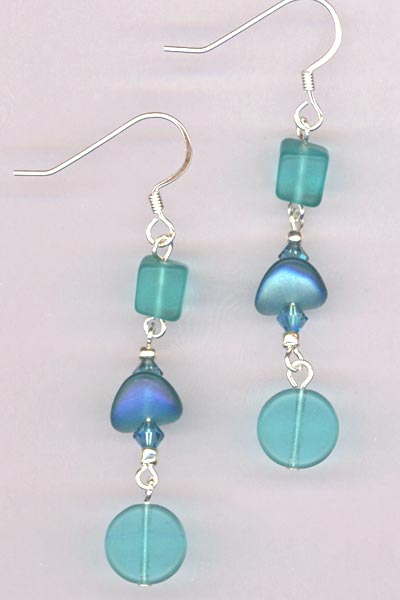 Blue Indicolite Swarovski Crystal Dangle Silver Earrings