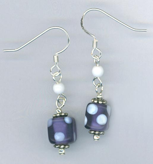 Purple white polka dot earrings