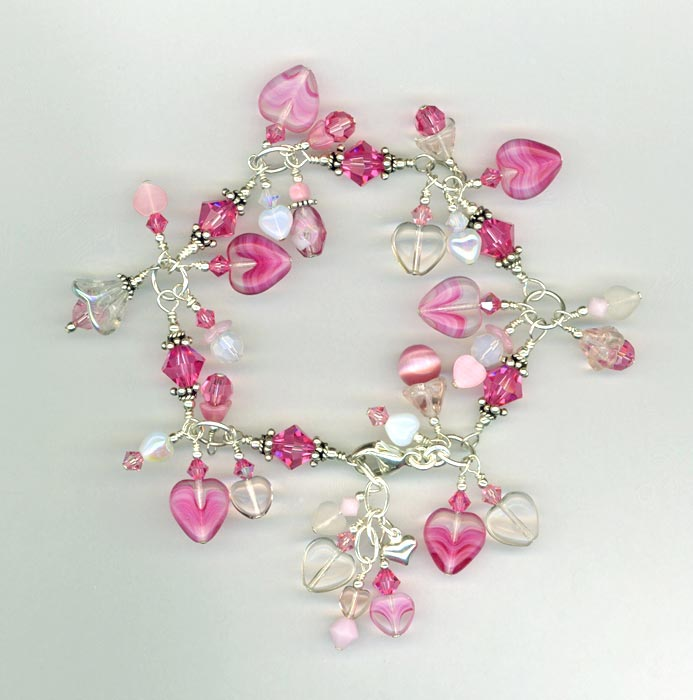 Pretty Pink Crystal & Czech Glass Heart Charm Bracelet