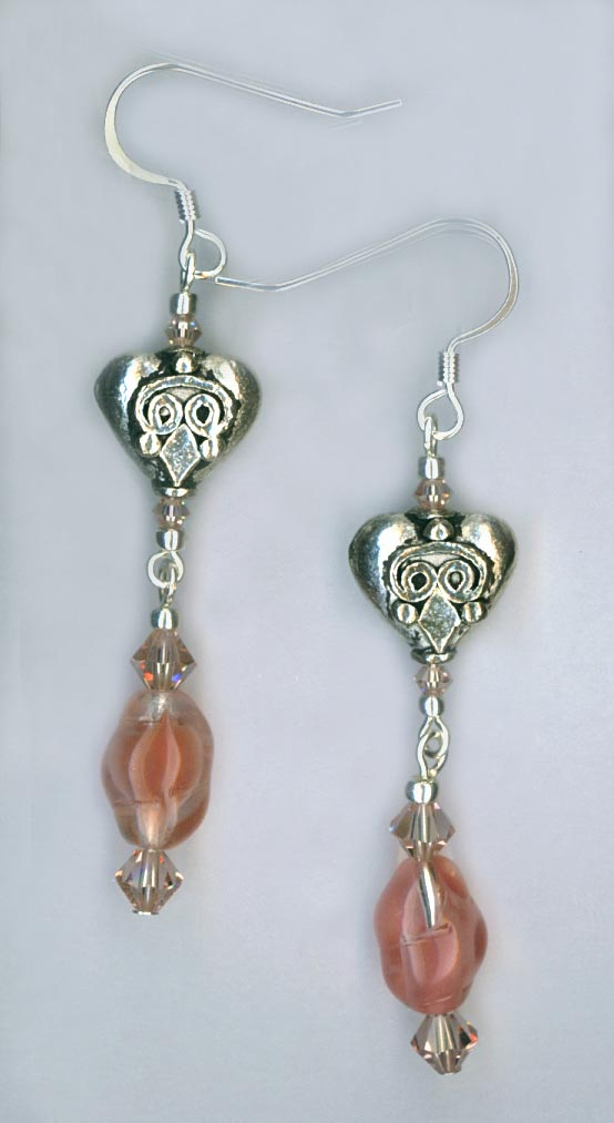 Silver Heart pale pink dangle earring