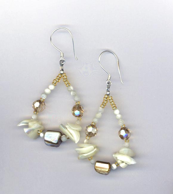 MOP teardrop crystal earrings