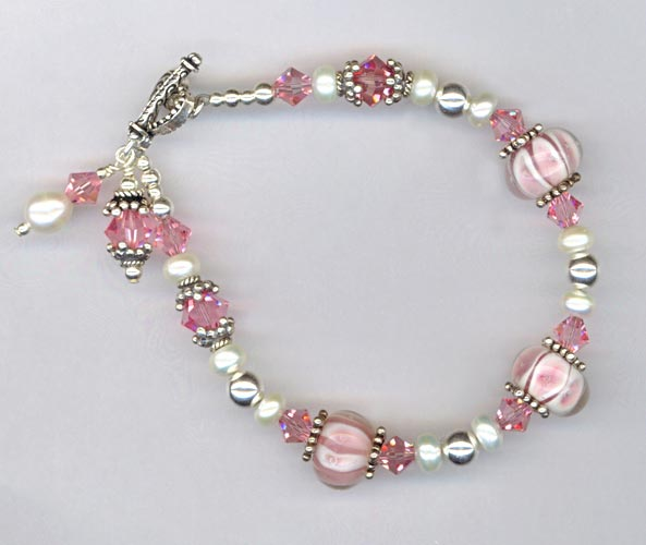 Pink White LW Rose Crystal Heart bracelet