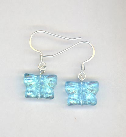 blue blutterfly girl earrings