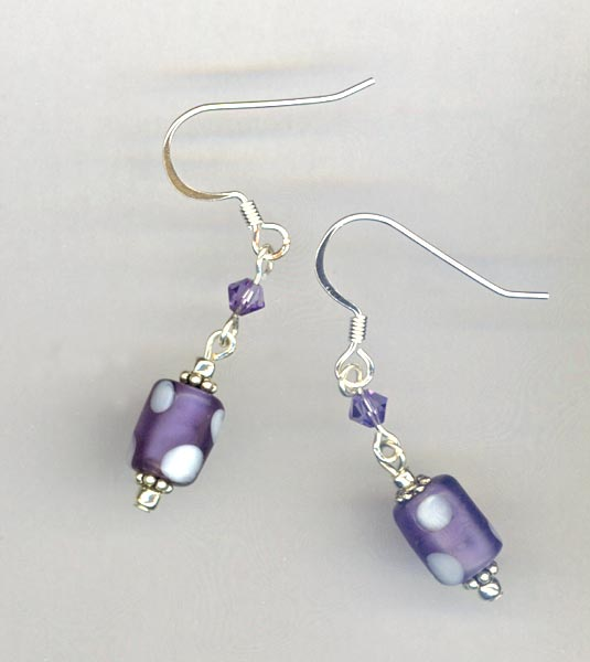 purple white pokldot crystal earrings