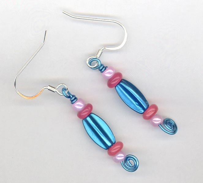 Blue pink Whimsy earrings