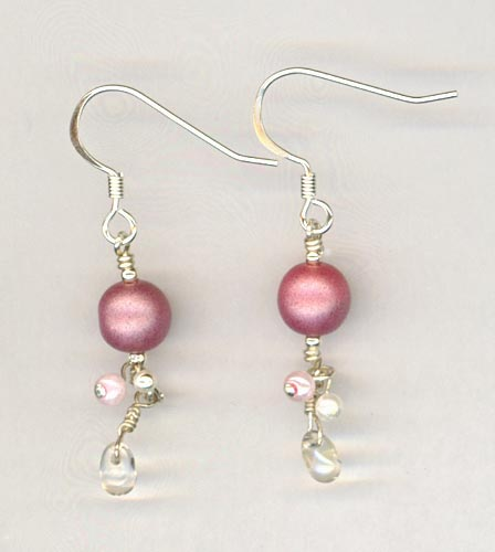 pink teadrop dangle earring