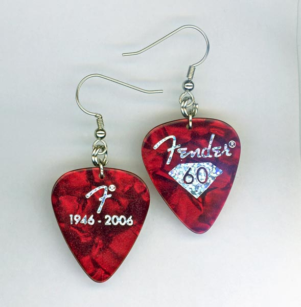 red fender lmt edition pick earrings