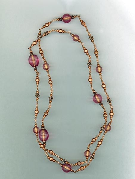 Copper $ Pink Italian Link Necklace