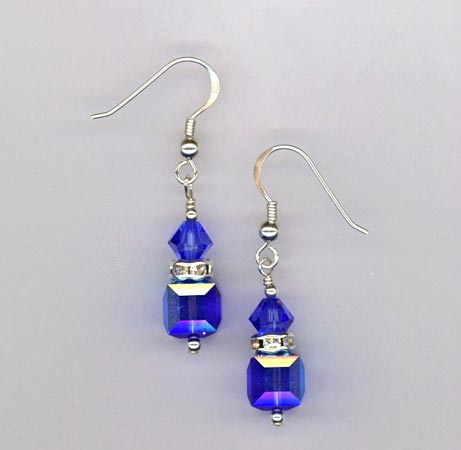 elegant sapphire blue cube earrings