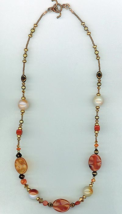 copper carnelian pearl necklace