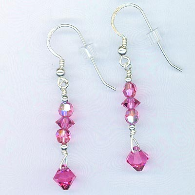 Pink Rose AB Swarovski Crystal Earrings