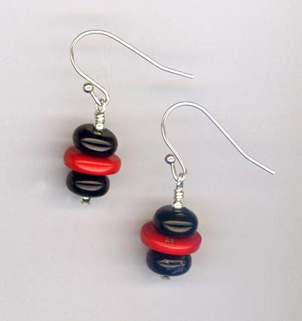 coral onyx artist earrings