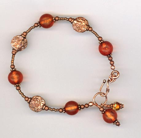 copper & Amber itan glass bracelet
