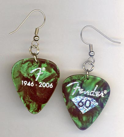 Green Pearl Fender Guitar Pick Earring