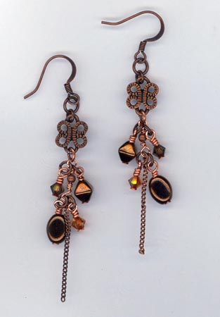 Olive Garden ~ Copper Chain Earrings