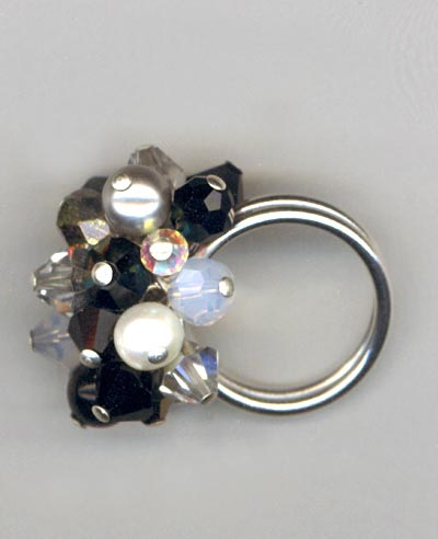 Black & White Crystal Cluster Ring