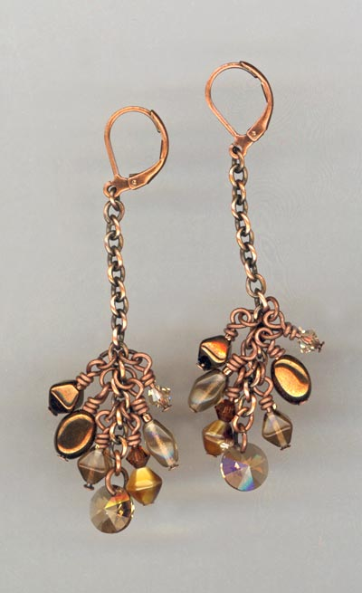 Copper Cluster Chain Earrings