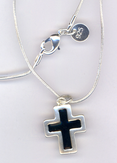 Sterling Black Cross snake chain Necklace