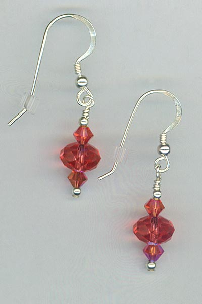 Padparadscha Crystal Silver Earrings