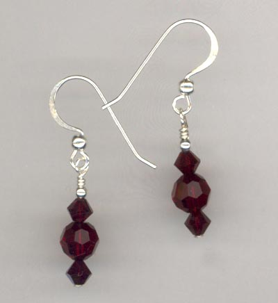 Garnet Red Crystal Stack Earring