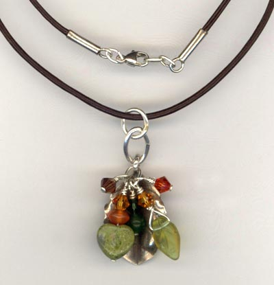 Brown Leather HT Faling Leaves cluster pendant