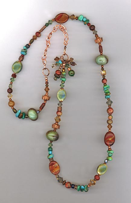 Copper gemstone mix long necklace