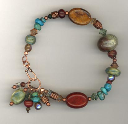 copper gem mix bracelet