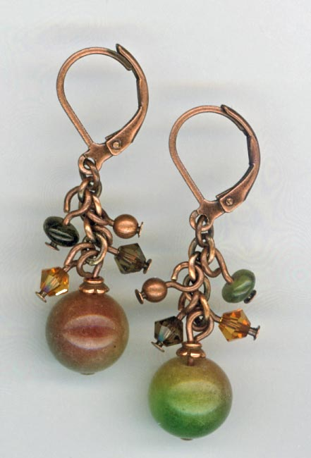 copper jade cluster earrings