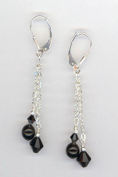 black Tuxedo chain earrings