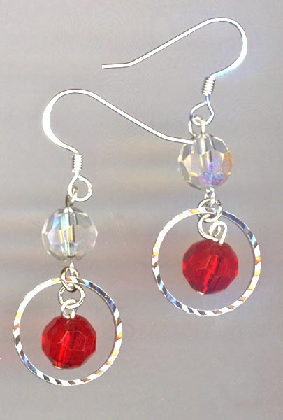 silver sparkle red earrings