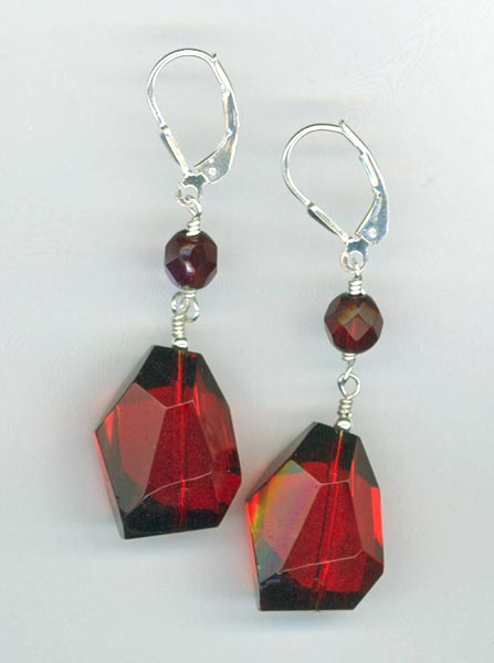 ruby quartz nugget earrings