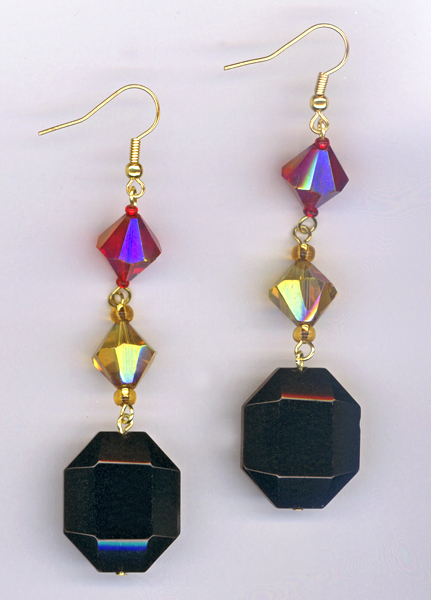 black, red, gold triple dangle earrings