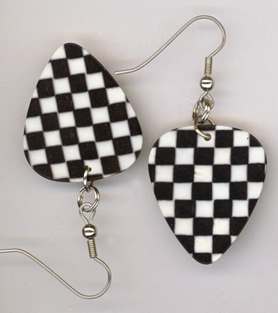 black checked gp earrings
