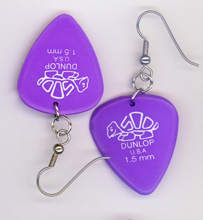 purple turtle dunlop guitar pick earrings