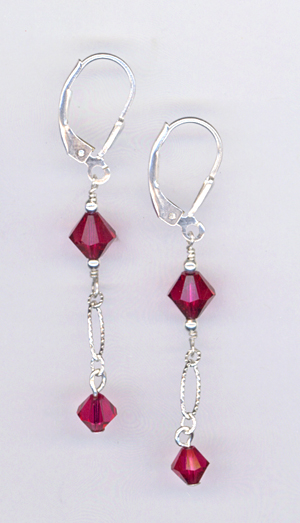 ruby red LB earrings