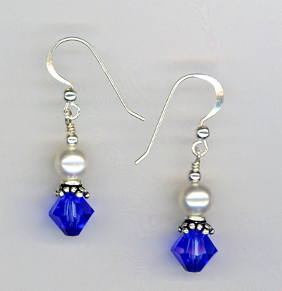 sapphire pearl awareness earrings