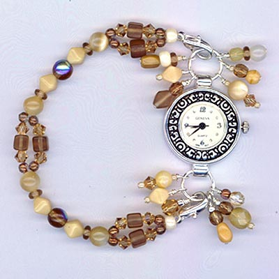 Neutral Beaded Colorado Topaz Mother-of-Pearl Stretchy  Geneva Watch